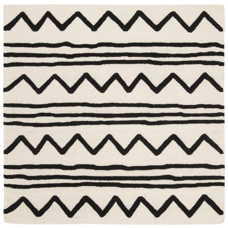 Brenner Hand-Tufted Wool Ivory/Black Area Rug