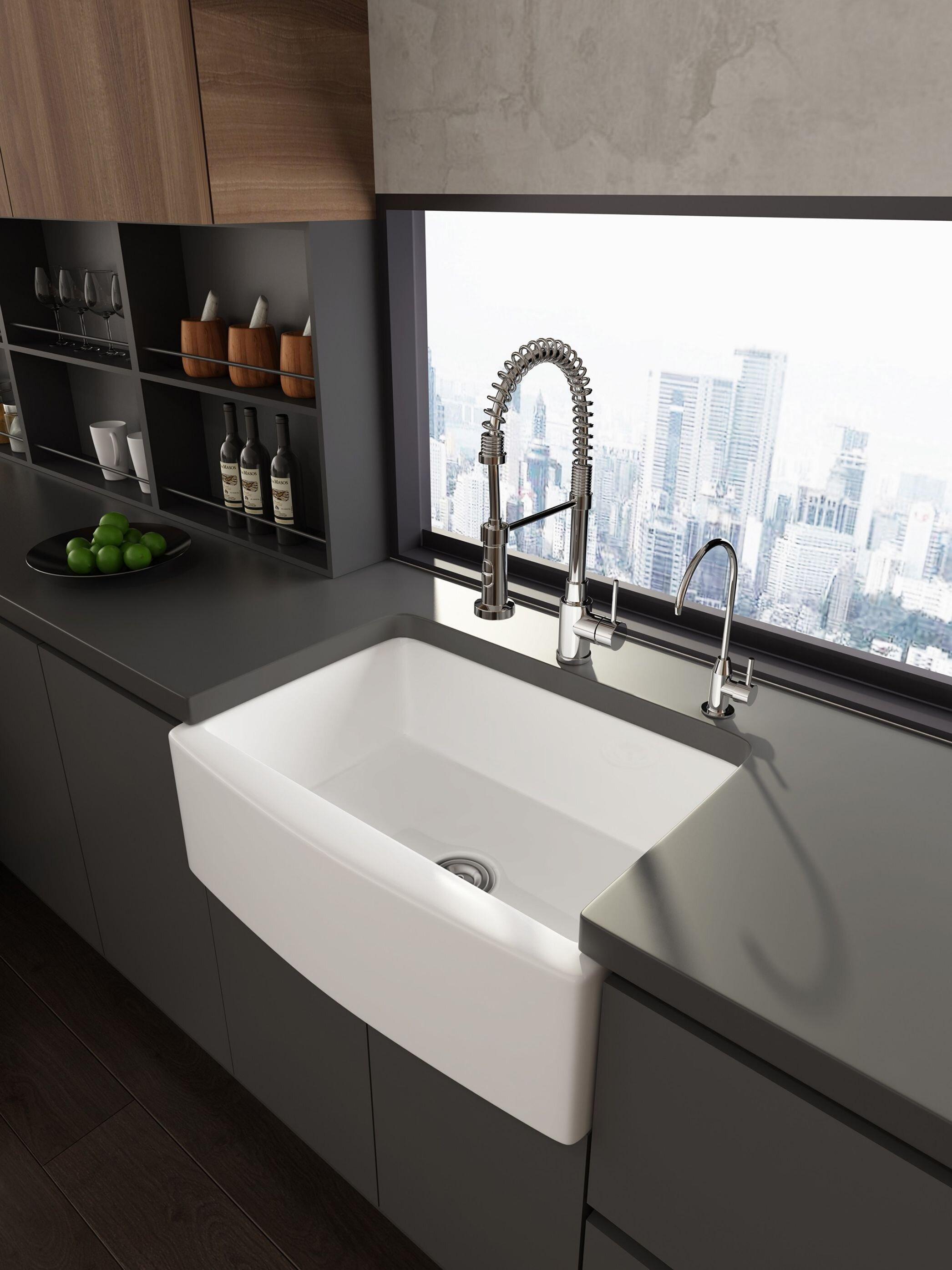 J E Home Ceramic 29 75 L X 20 5 W Farmhouse Kitchen Sink Rectangular White Vessel Sink Bathroom Sink With Grid And Strainer Wayfair