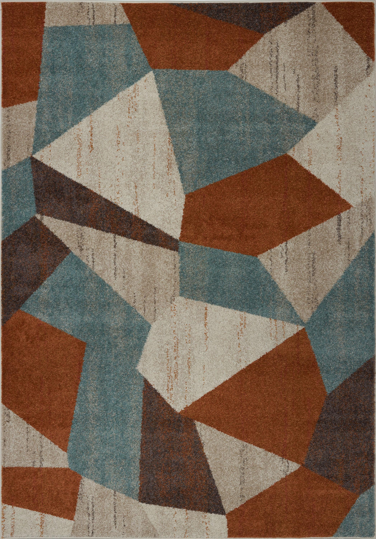 George Oliver Vogler Abstract Cream Brown Blue Area Rug Wayfair