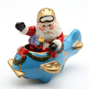 Santa with Plane Salt and Pepper Set by Cosmos Gifts