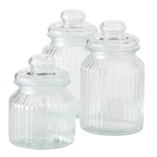 Iconic Ribbed and Knob Topped 3 Piece Kitchen Canister Set