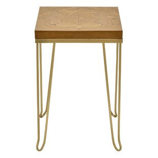 Beason Metal with Wood Top End Table by Bungalow Rose