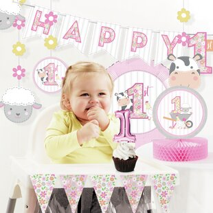 Farmhouse Girl 1st Birthday Paper/Plastic Disposable Decorations Kit
