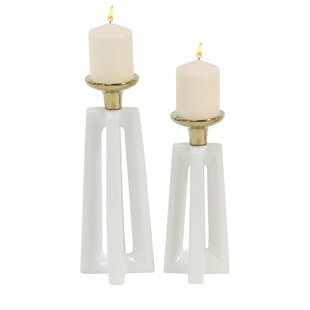 Modern Cross 2 Piece Candlestick Set
