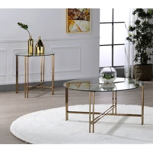 Check Stock Everly Quinn Chevalier Tempered Glass 2 Piece Coffee Table Set