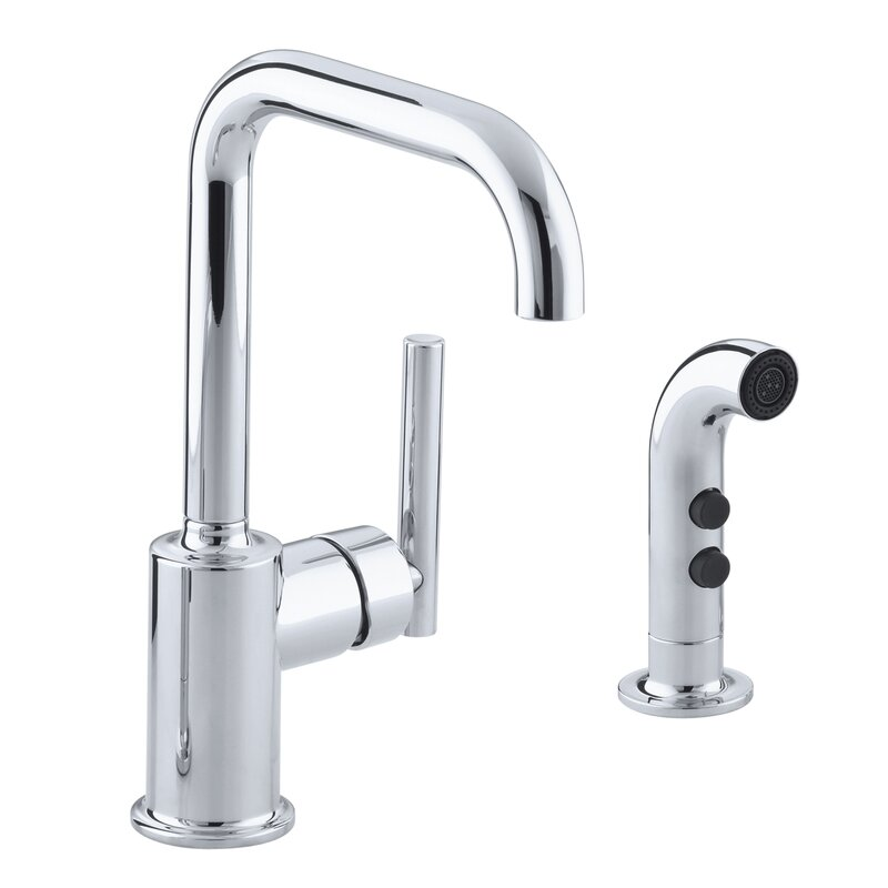 Kohler Purist Two Hole Kitchen Sink Faucet With 6 Spout And