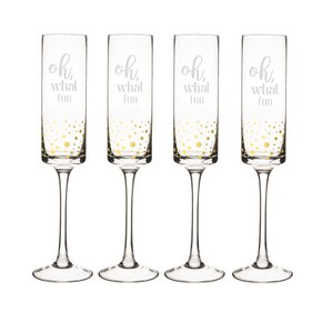 oh what fun 8 oz champagne flute set of 4