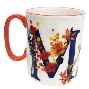 Erwin Floral 'M' Initial Coffee Mug