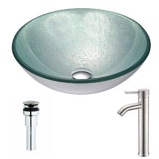 Spirito Glass Circular Vessel Bathroom Sink with Faucet ANZZI