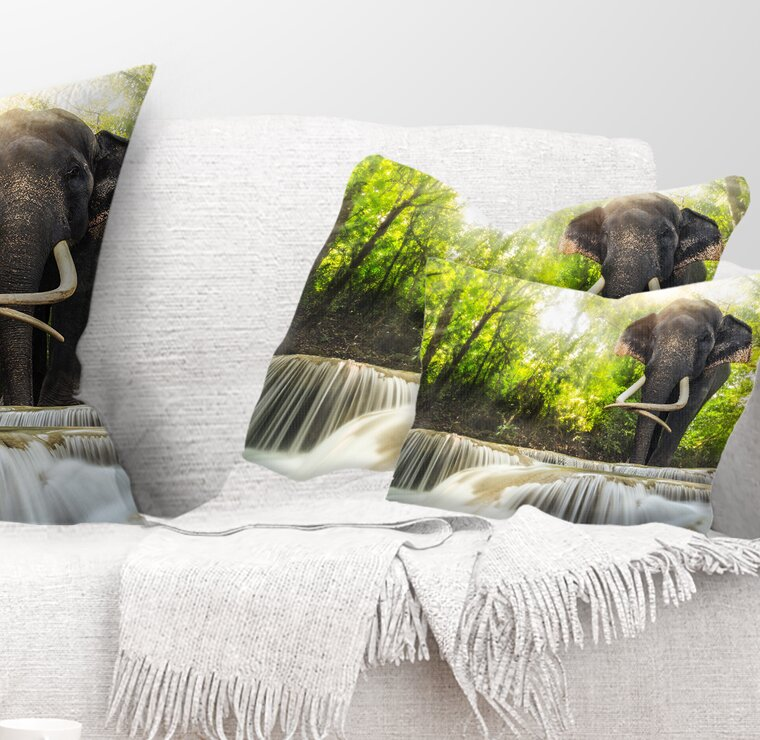 East Urban Home Photography Erawan Waterfall With Elephant Lumbar Pillow Wayfair