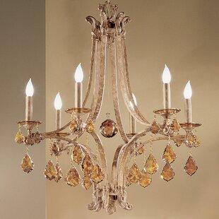 Mediterranean 6 Light Candle Style Chandelier