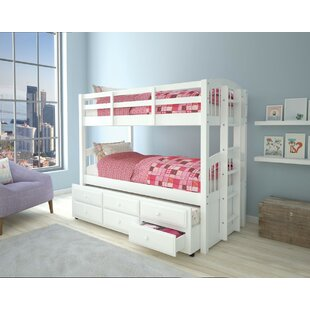Guilford Wooden Twin over Twin Bunk Bed with Trundle and 3 Drawers