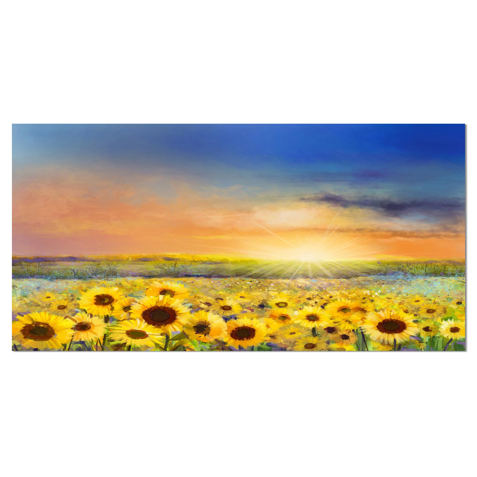 Designart Sunset Over Golden Sunflower Field Painting Print On Wrapped Canvas Wayfair