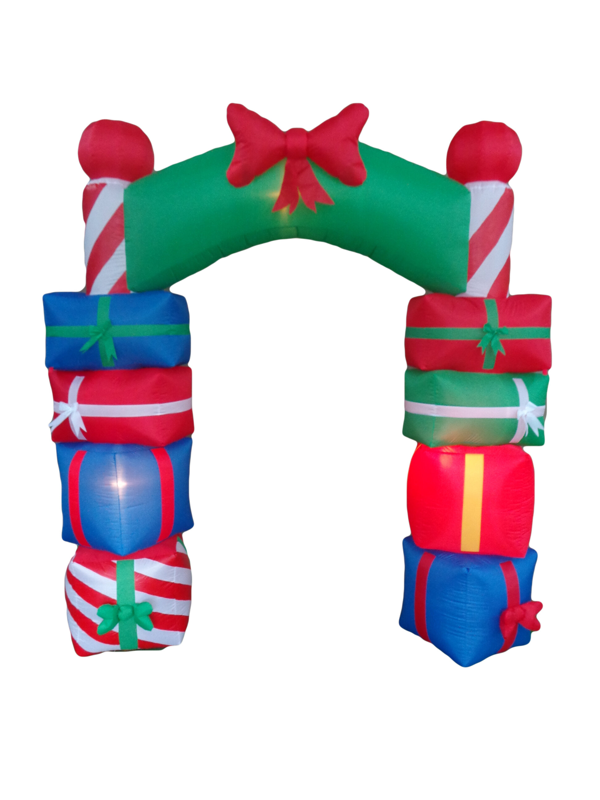 The Holiday Aisle Christmas Inflatable Gift Boxes Arch with Bow Tie ...