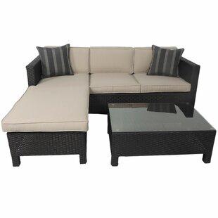 Velda 3 Piece Sofa Set with Cushions by Longshore Tides