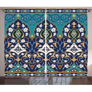 Brookton Moroccan Ottoman Folkloric Art Inspired Abstract Aged Middle Age Renaissance Artful Print Graphic Print & Text Semi-Sheer Rod Pocket Curtain Panels (Set of 2) by Bloomsbury Market