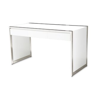 State St. Glass Writing Desk by Michael Amini Wonderful