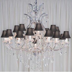 Astoria Grand Alvarado 24-Light Silver/Black Shaded Chandelier