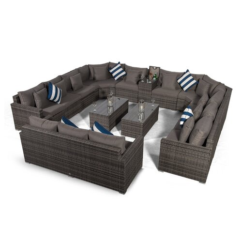 Villasenor Grey Rattan 10 Seat Sofa With 2 X Rectangle Coffe
