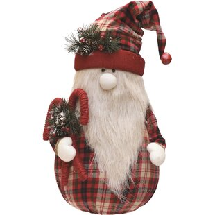 Plaid Sitting Santa Gnome With Candy Canes Plush Table Top Christmas Figure