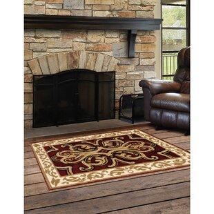 Bridgette Classical Beige/Burgundy Indoor/Outdoor Area Rug