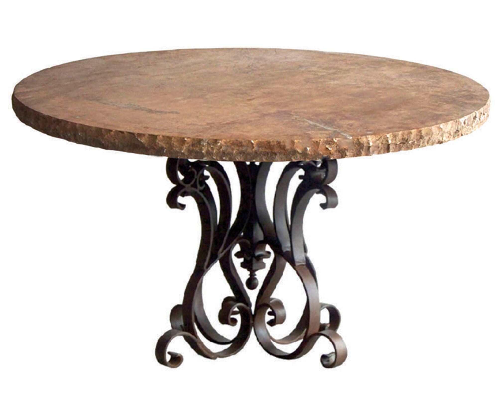 Mexports By Susana Molina Rustic Dining Table Made Of Wrought Iron With Travertine Top With Chisel Edge Wayfair