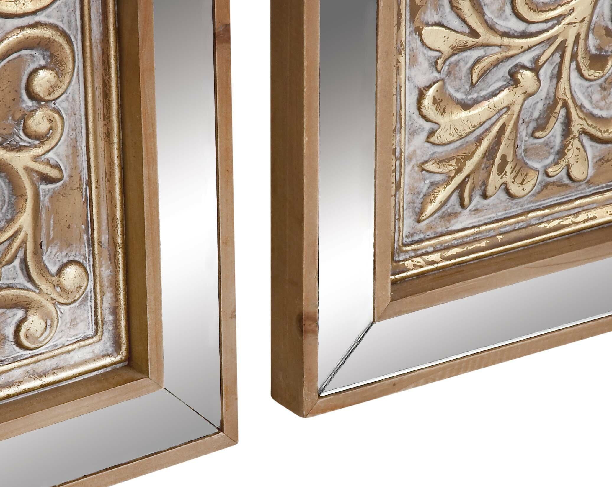 3 piece metal mirror plaque wall décor set reviews joss main