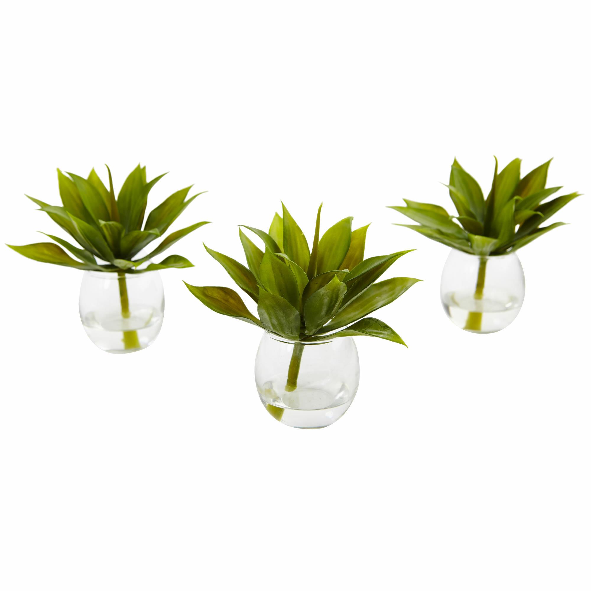 3 Piece Artificial Agave Plant In Decorative Vase Set Reviews