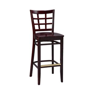 Amoroso Beechwood Lattice Back Wood Seat Bar Stool Red Barrel Studio