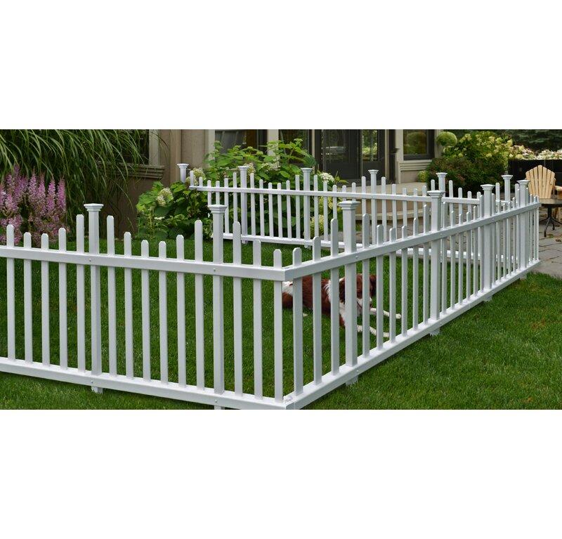 White Garden Fence Panel No Dig Lawn Picket Outdoor Fencing Barrier Vinyl Best