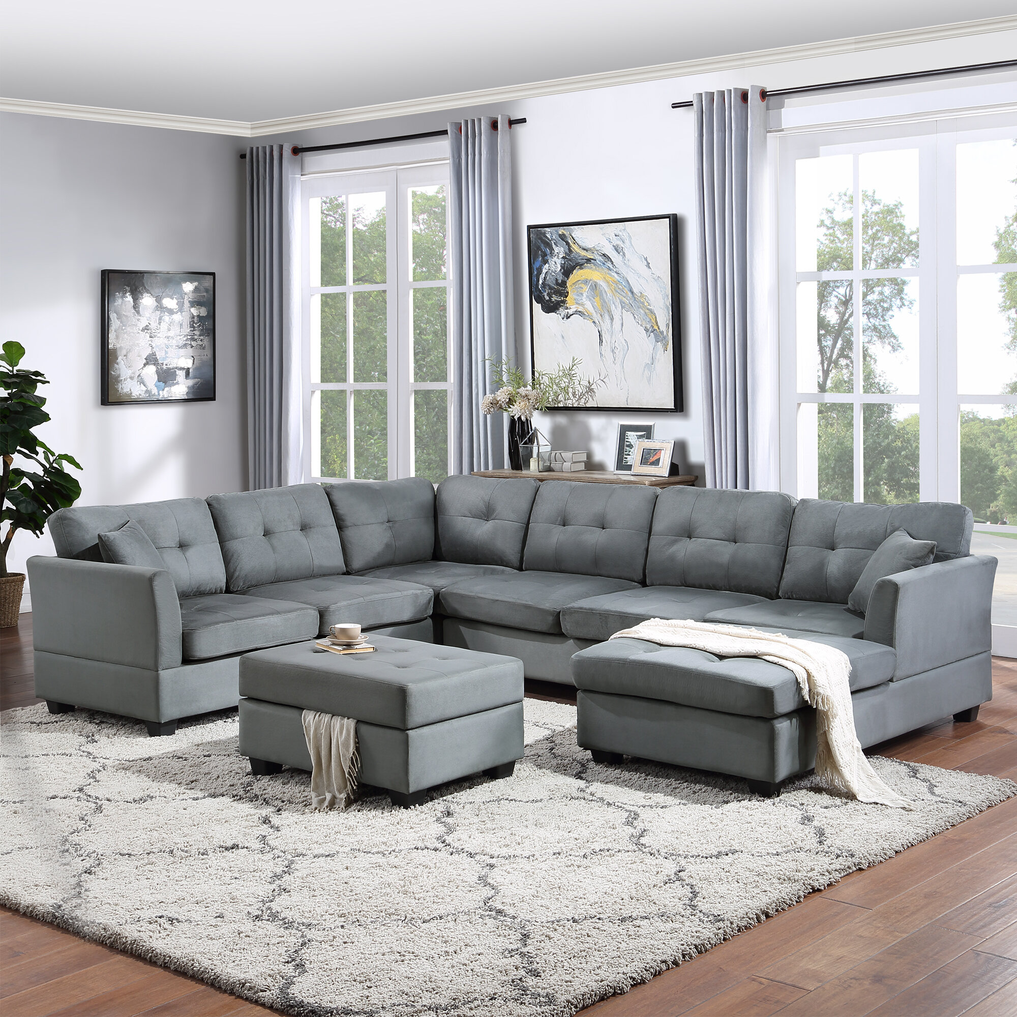 Red Barrel Studio® Sectional Sofa With Two Pillows, U-Shape