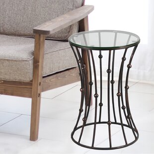 Brushwood Glass Top Metal Side Table