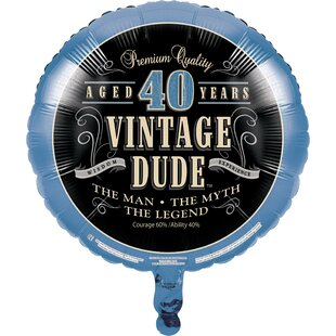Vintage Dude 40th Birthday Mylar Balloon
