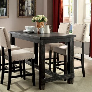 Leahy Transitional Counter Height Solid Wood Dining Table Alcott Hill