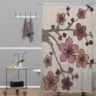 Deepak Blossom Single Shower Curtain by Bungalow Rose Wonderful