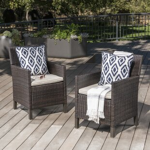 Arguelles Outdoor Wicker Patio Dining Chair (Set of 2) by Ivy Bronx