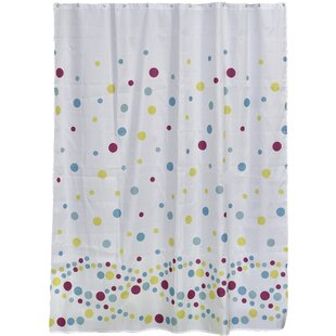 Bubbles Printed Fabric Shower Curtain by Evideco