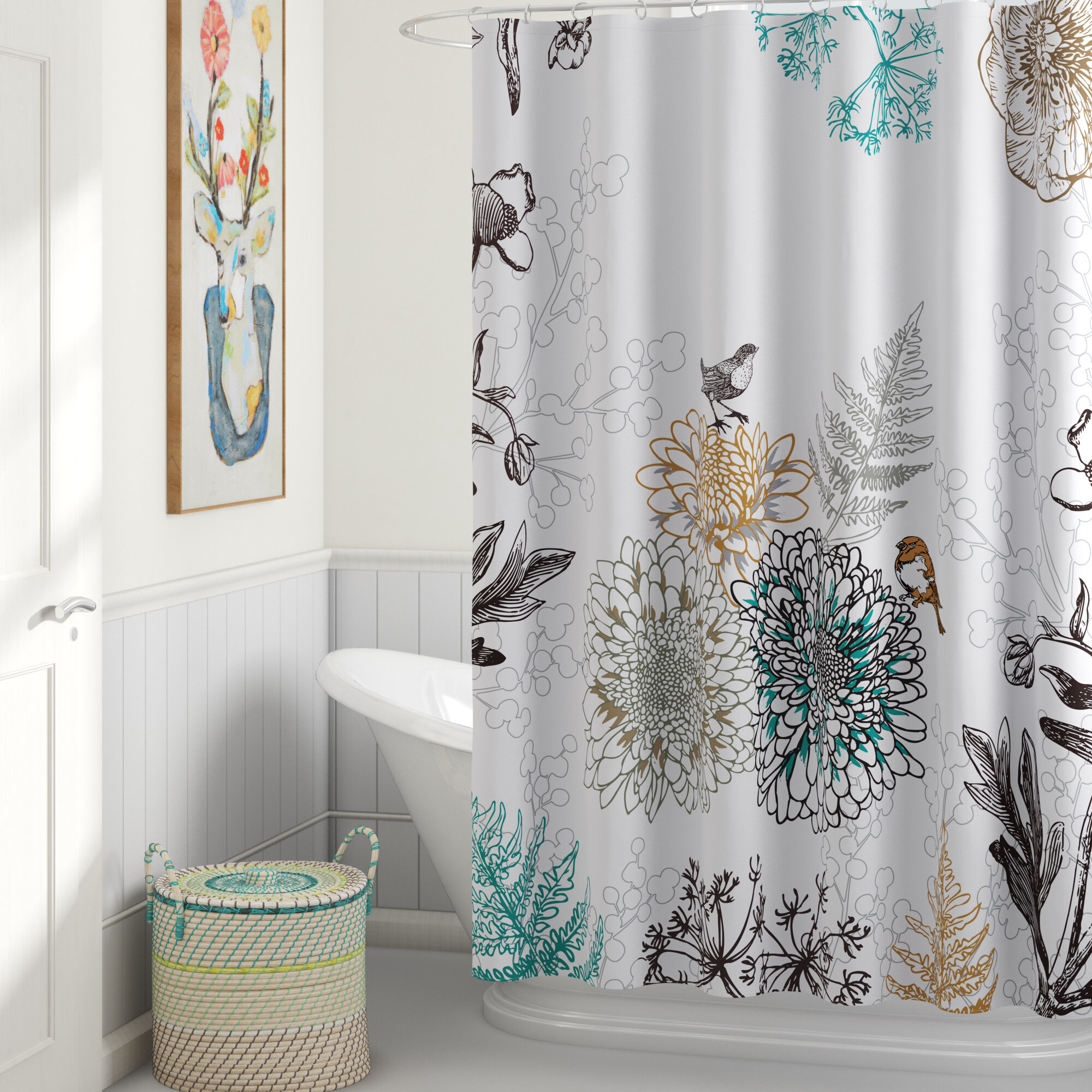 Red Barrel Studio Phoebe Floral Single Shower Curtain Reviews Wayfair