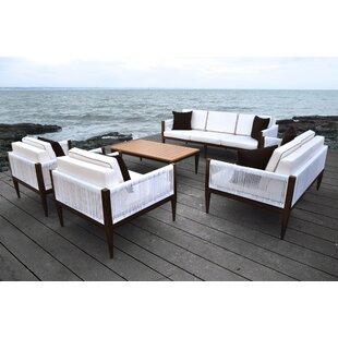 Solis Patio Freya 5 Piece Rattan Sofa Set with Cushions