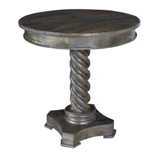 Azaria Mango Wood Carved Rope Twist End Table