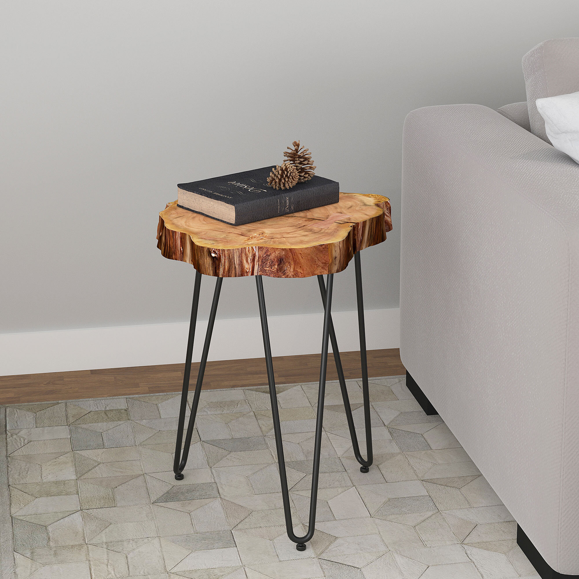 Union Rustic Burch Acacia Wood And Wrought Iron End Table Reviews Wayfair