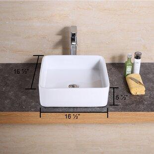 Luxier Ceramic Square Vessel Bathroom Sink