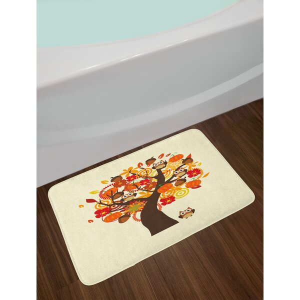 Ambesonne Kids Thanksgiving Bath Mat By Abstract Fall Tree With Flowers Acorns Pumpkins And Owls Generous Nature Plush Bathroom Decor Mat With Non