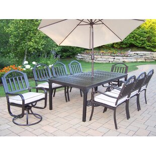 Lisabeth Dining Set with Cushions and Umbrella
