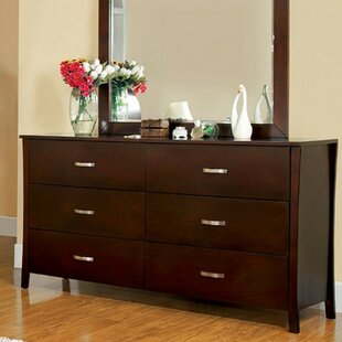 Sabbagh Durable 6 Drawer Double Dresser with Mirror