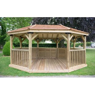5.3m X 3.8m Wooden Gazebo With Cedar Roof Image