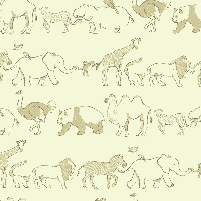"York Wallcoverings Waverly Kids Congo Line 27' x 27"" Wildlife Wallpaper"