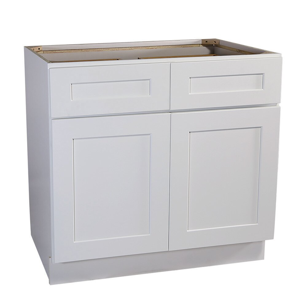 Ebern Designs Frits Ready To Assemble 48 X 34 5 X 24 In Base Cabinet Style 2 Door With 2 Drawer In White Wayfair