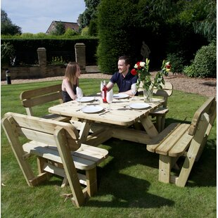 Large Wooden Picnic Bench Image