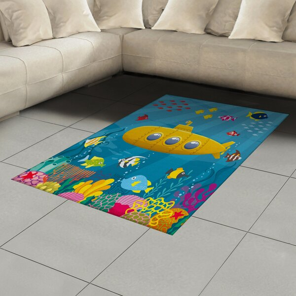 East Urban Home Ambesonne Yellow Submarine Area Rug Coral Reef With Colourful Fish Ocean Life Marine Creatures Tropic Kid Flat Woven Accent Rug For Living Room Bedroom Dining Room 2 6 X 5 Blue Yellow Pink Wayfair Ca
